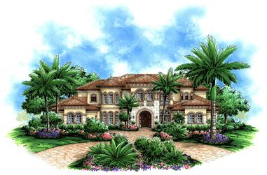 Front elevation of Mediterranean home (ThePlanCollection: House Plan #175-1183)