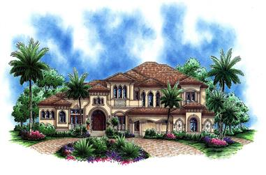 4-Bedroom, 7384 Sq Ft Tuscan Home Plan - 175-1184 - Main Exterior