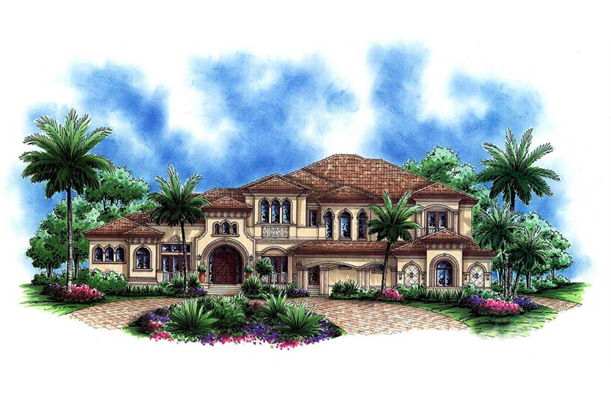 Front elevation of Tuscan home (ThePlanCollection: House Plan #175-1184)