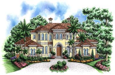 4-Bedroom, 7441 Sq Ft Mediterranean Home Plan - 175-1185 - Main Exterior