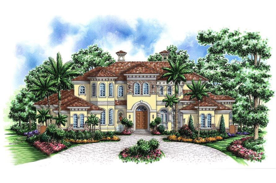 Front elevation of Mediterranean home (ThePlanCollection: House Plan #175-1185)