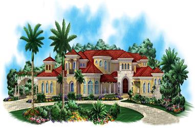 4-Bedroom, 9202 Sq Ft Mediterranean Home Plan - 175-1186 - Main Exterior