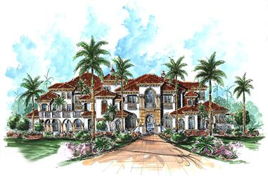 6-Bedroom, 9870 Sq Ft Mediterranean Home Plan - 175-1187 - Main Exterior