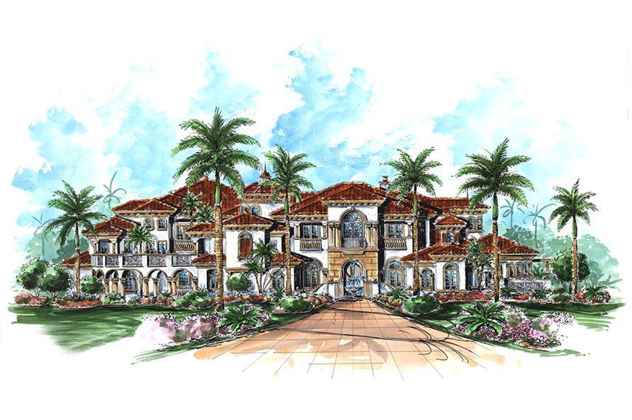 6-Bedroom, 9870 Sq Ft Mediterranean Home Plan - 175-1187 - Main Exterior