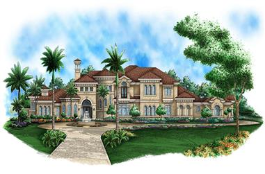 Front elevation of Mediterranean home (ThePlanCollection: House Plan #175-1188)