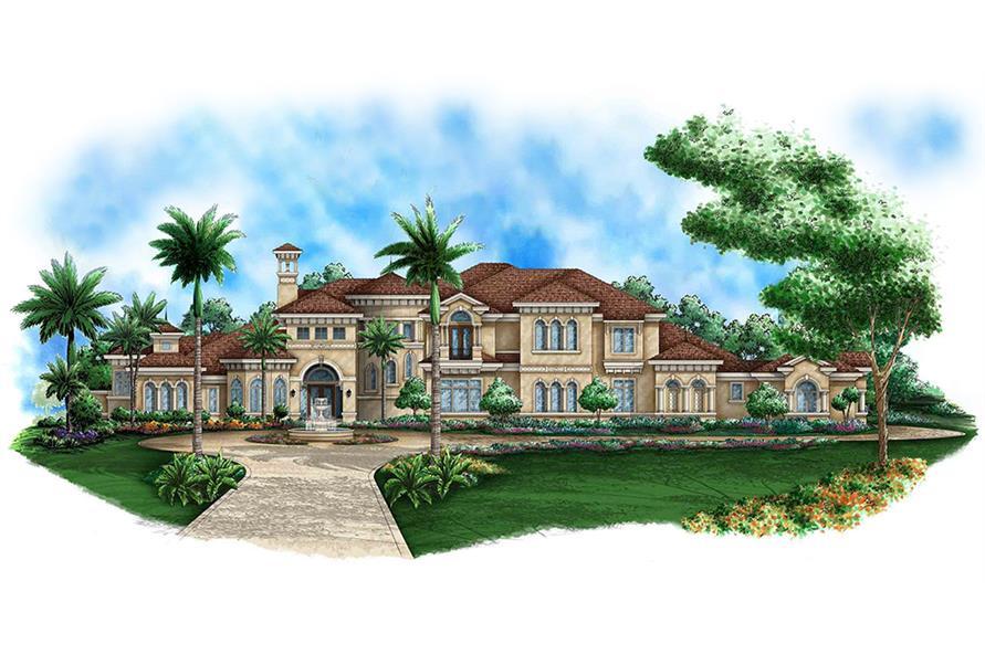 5-Bedroom, 10875 Sq Ft Mediterranean Home Plan - 175-1188 - Main Exterior
