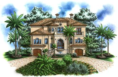 4-Bedroom, 4623 Sq Ft Mediterranean Home Plan - 175-1189 - Main Exterior