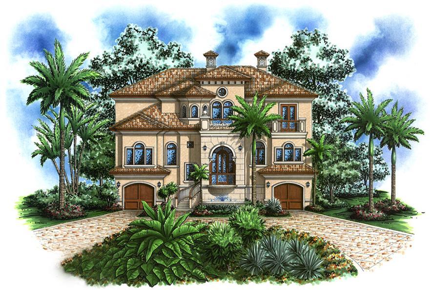 4-Bedroom, 4623 Sq Ft Mediterranean Home Plan - 175-1189 - Main Exterior