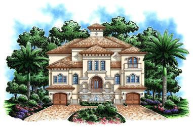 Front elevation of Mediterranean home plan (ThePlanCollection: House Plan #175-1190)