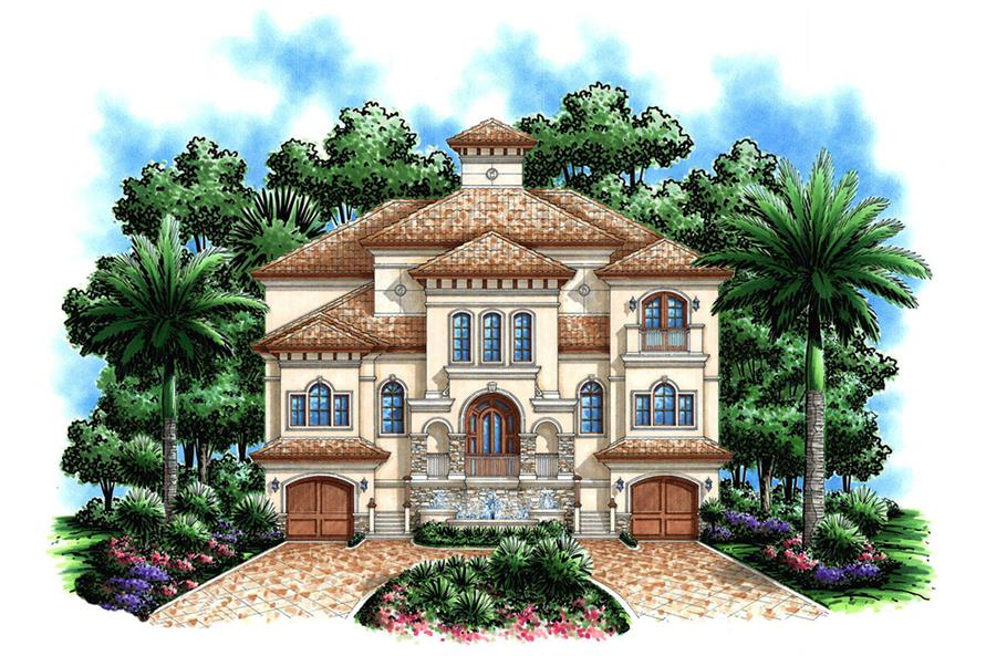 4-Bedroom, 4735 Sq Ft Mediterranean Home Plan - 175-1190 - Main Exterior