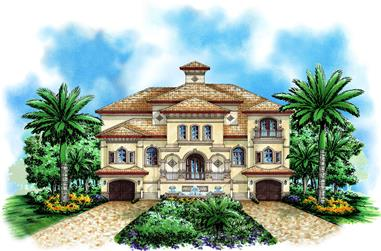 Front elevation of Mediterranean home (ThePlanCollection: House Plan #175-1191)