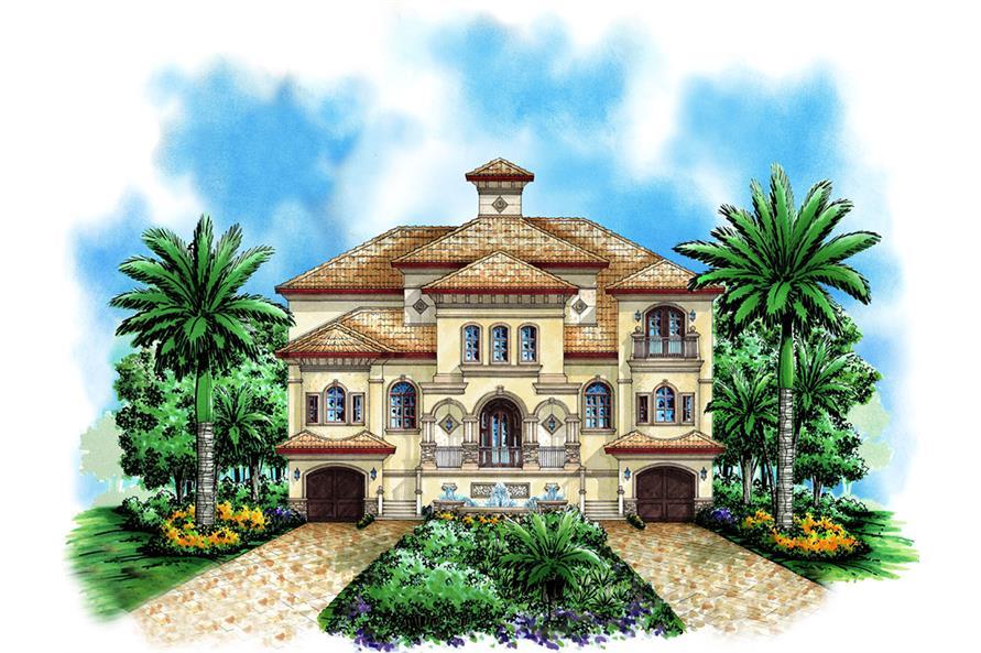 4-Bedroom, 4880 Sq Ft Mediterranean Home Plan - 175-1191 - Main Exterior
