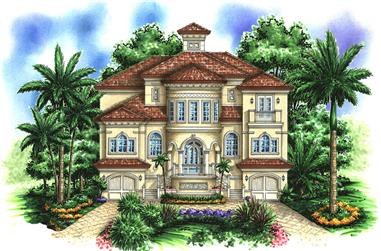 Front elevation of Mediterranean home (ThePlanCollection: House Plan #175-1192)