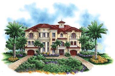 4-Bedroom, 6162 Sq Ft Mediterranean Home Plan - 175-1194 - Main Exterior