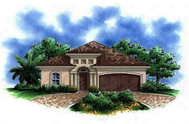 Front elevation of Mediterranean home (ThePlanCollection: House Plan #175-1196)