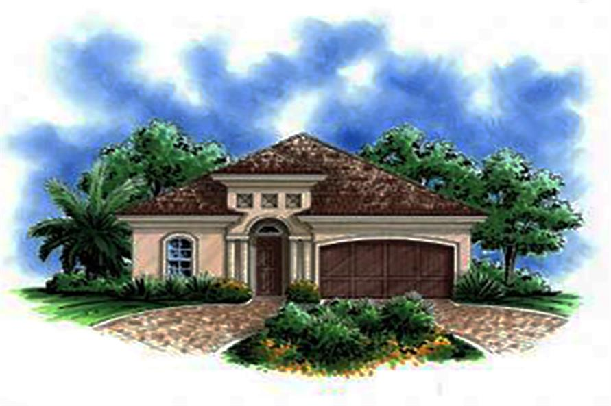 2-Bedroom, 1450 Sq Ft Mediterranean Home Plan - 175-1196 - Main Exterior