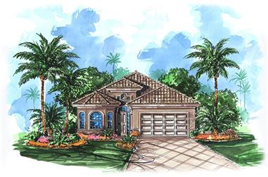 Front elevation of Mediterranean home (ThePlanCollection: House Plan #175-1199)