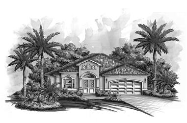 Front elevation of Craftsman home (ThePlanCollection: House Plan #175-1200)