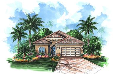 Front elevation of Mediterranean home (ThePlanCollection: House Plan #175-1201)