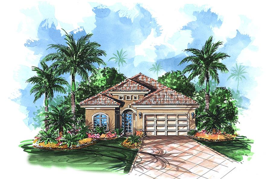 2-Bedroom, 2208 Sq Ft Mediterranean House Plan - 175-1201 - Front Exterior