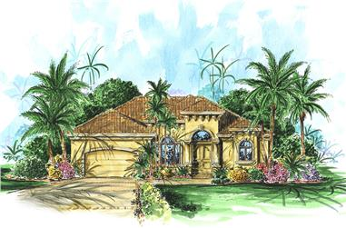 Front elevation of Mediterranean home (ThePlanCollection: House Plan #175-1202)