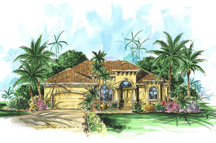 2-Bedroom, 2259 Sq Ft Mediterranean House Plan - 175-1202 - Front Exterior