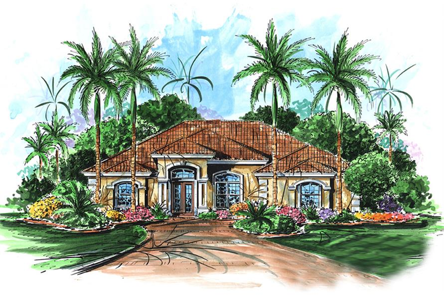 Front elevation of Mediterranean home (ThePlanCollection: House Plan #175-1205)