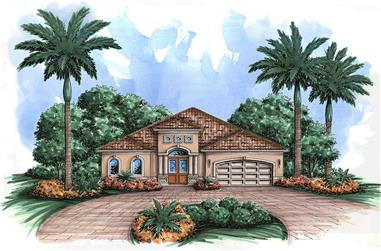 Front elevation of Mediterranean home (ThePlanCollection: House Plan #175-1206)
