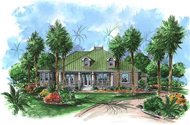 Front elevation of Florida Style home (ThePlanCollection: House Plan #175-1208)