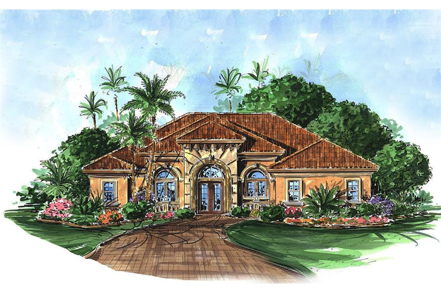 2-Bedroom, 2536 Sq Ft Mediterranean Home Plan - 175-1209 - Main Exterior