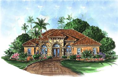 Front elevation of Mediterranean home (ThePlanCollection: House Plan #175-1209)