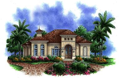 Front elevation of Mediterranean home (ThePlanCollection: House Plan #175-1210)