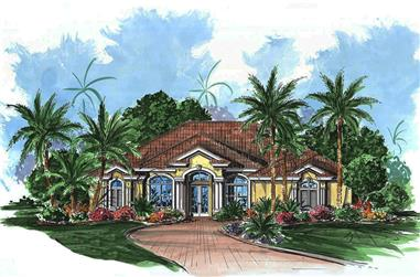 Front elevation of Craftsman home (ThePlanCollection: House Plan #175-1211)