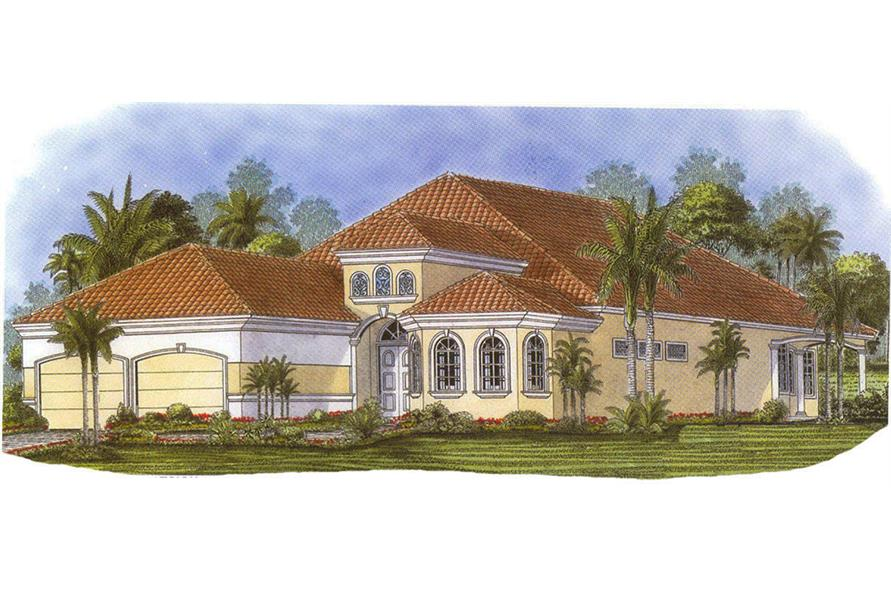 Front elevation of Mediterranean home (ThePlanCollection: House Plan #175-1212)