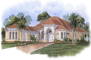 Front elevation of Mediterranean home (ThePlanCollection: House Plan #175-1213)