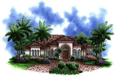 3-Bedroom, 3313 Sq Ft Mediterranean Home Plan - 175-1215 - Main Exterior