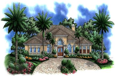 Front elevation of Coastal home (ThePlanCollection: House Plan #175-1216)
