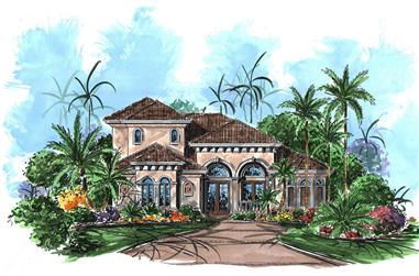 Front elevation of Mediterranean home (ThePlanCollection: House Plan #175-1218)