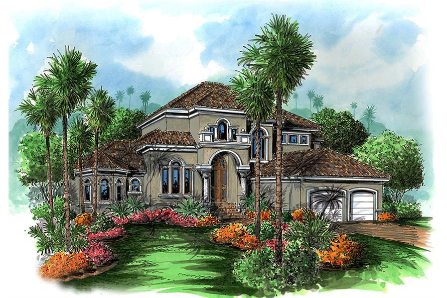 Front elevation of Mediterranean home (ThePlanCollection: House Plan #175-1219)