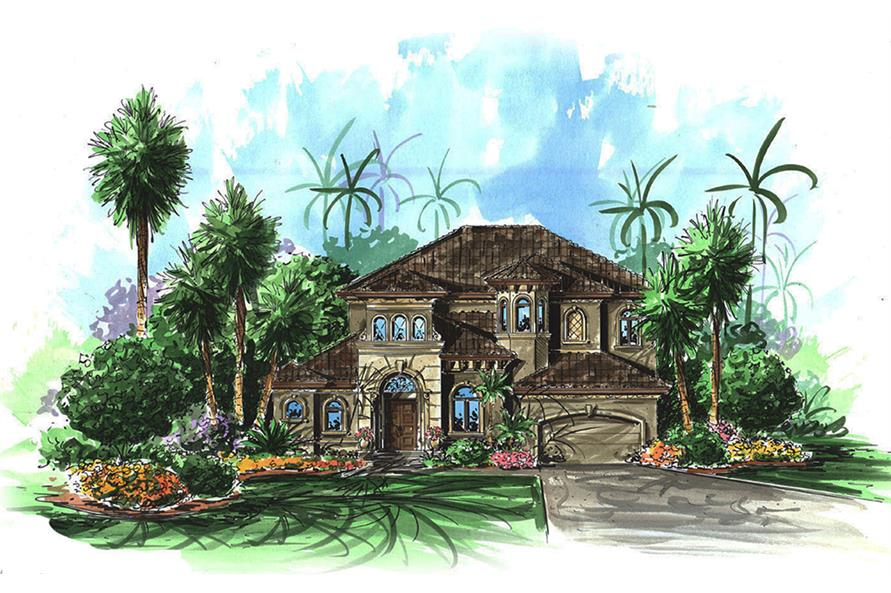 3-Bedroom, 3038 Sq Ft Mediterranean Home Plan - 175-1221 - Main Exterior