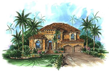 Front elevation of Mediterranean home (ThePlanCollection: House Plan #175-1222)