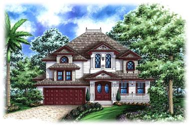 2-Bedroom, 3167 Sq Ft Florida Style House Plan - 175-1223 - Front Exterior