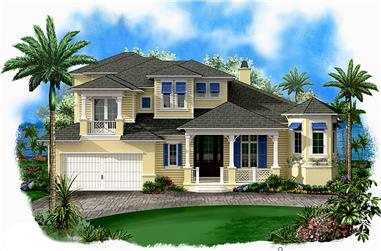 Front elevation of Coastal home (ThePlanCollection: House Plan #175-1224)