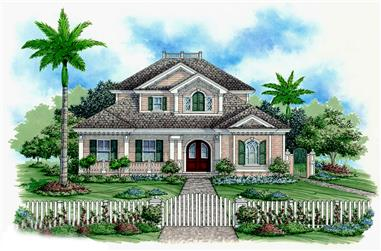 Front elevation of Coastal home (ThePlanCollection: House Plan #175-1225)