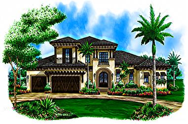 Front elevation of Coastal home (ThePlanCollection: House Plan #175-1227)