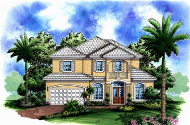 Front elevation of Coastal home (ThePlanCollection: House Plan #175-1228)
