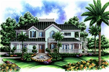 Front elevation of Coastal home (ThePlanCollection: House Plan #175-1229)