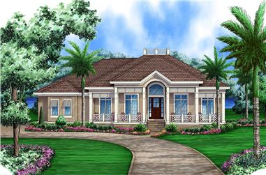 Front elevation of Florida Style home (ThePlanCollection: House Plan #175-1230)