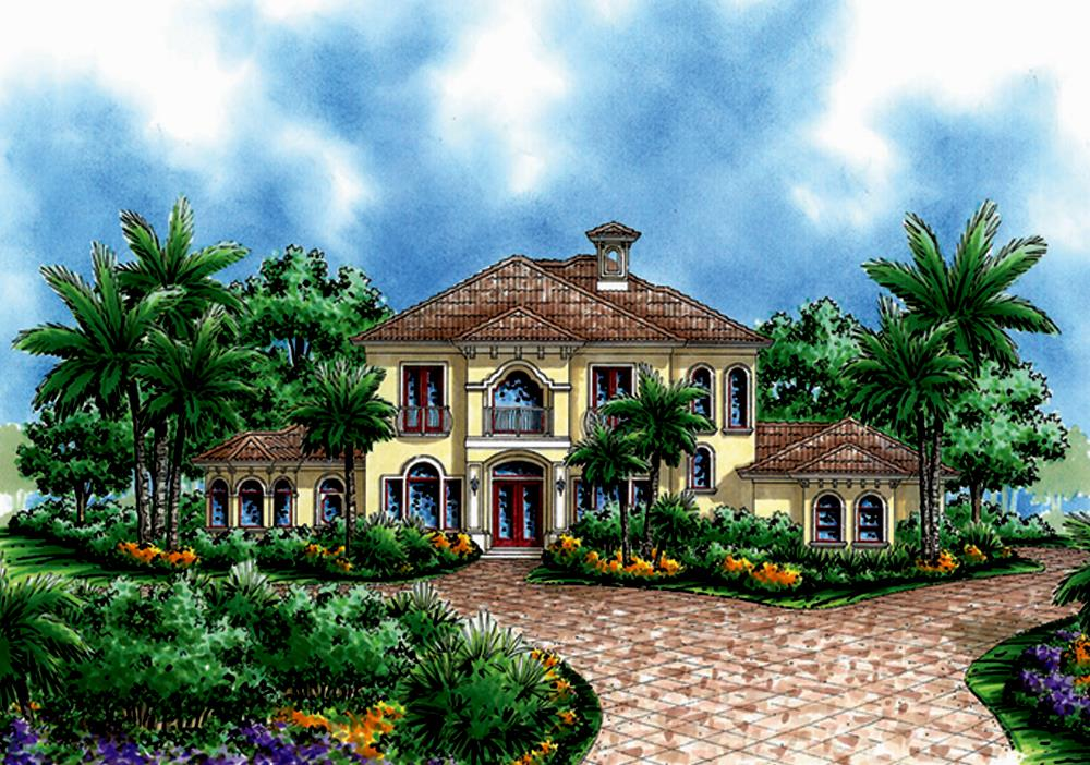 Front elevation of Mediterranean home (ThePlanCollection: House Plan #175-1231)