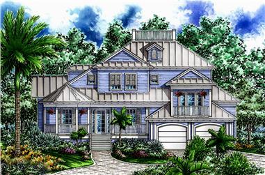 2-Bedroom, 3645 Sq Ft Coastal Home Plan - 175-1232 - Main Exterior